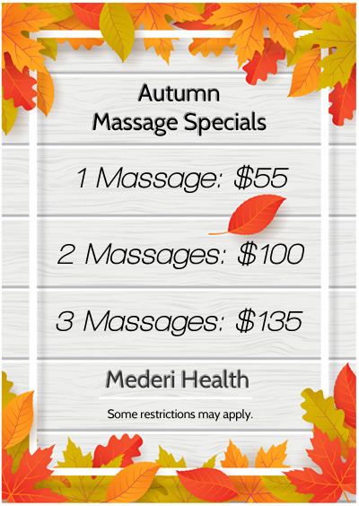 autumn massage specials at mederi health